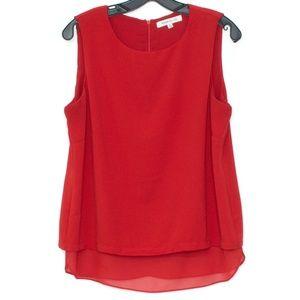 3/$20 Rose + Olive Top Sleeveless Zip Back Red I1